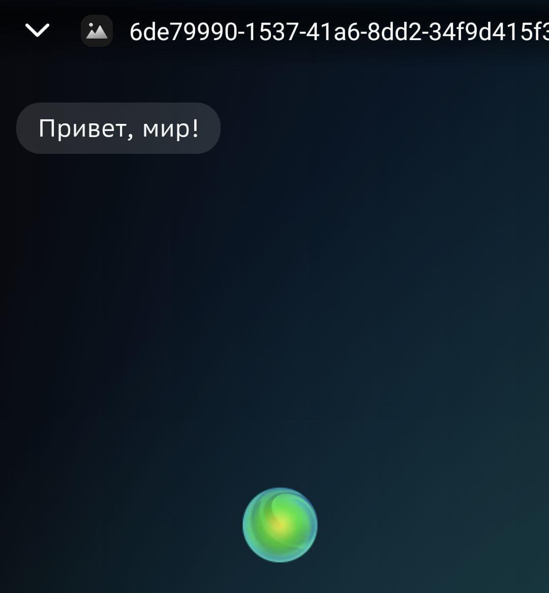 Окно смартапа в интерфейсе Салют
